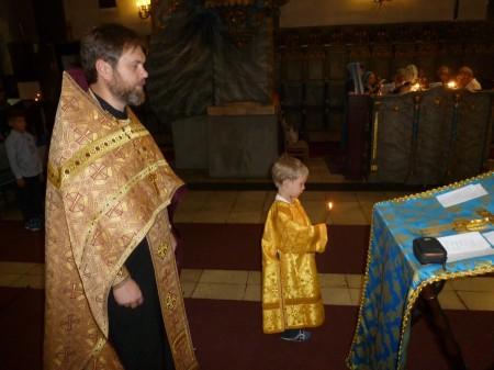 На службе с сыном Петром